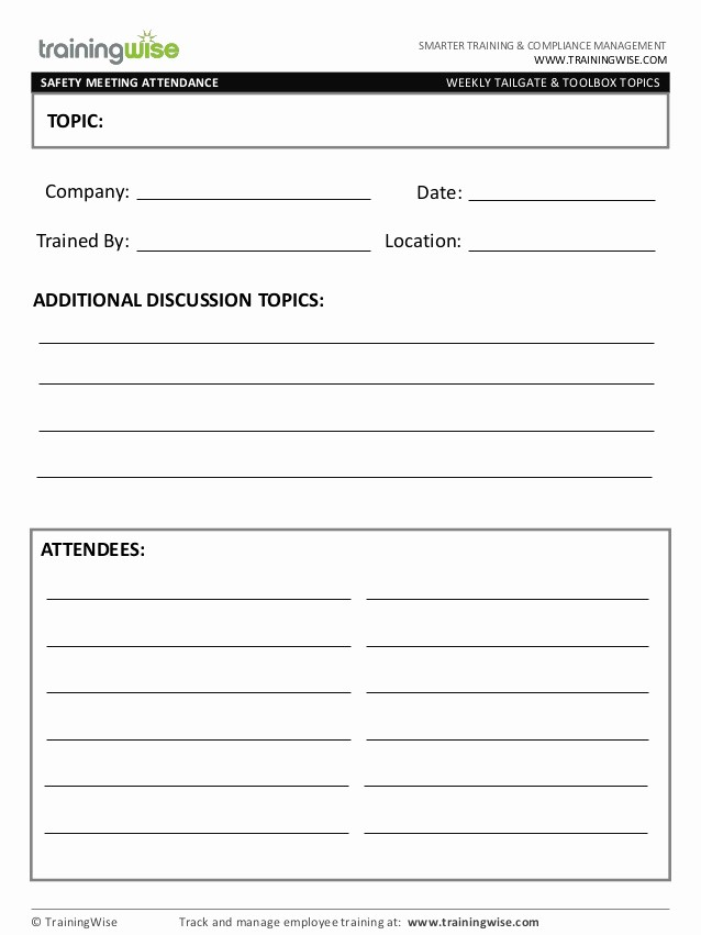 Safety Meeting Sign Off Sheet Lovely Safety Meeting form Free by Trainingwise