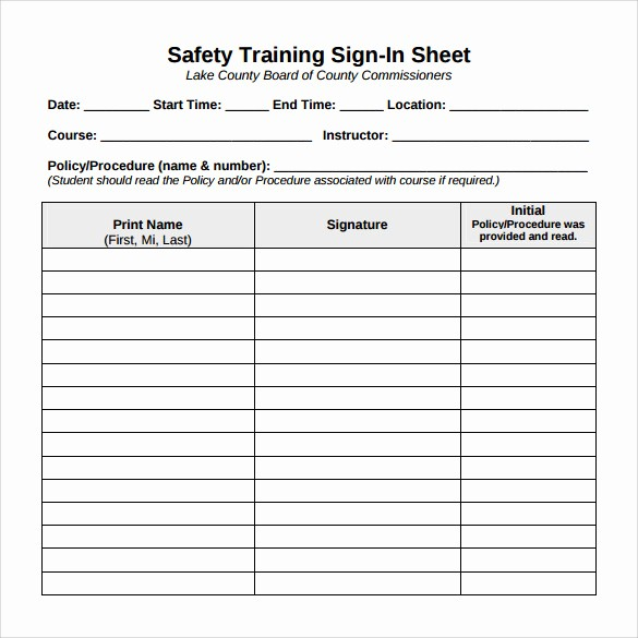 Safety Meeting Sign Off Sheet Lovely Training Sign F Sheet Template to Pin On