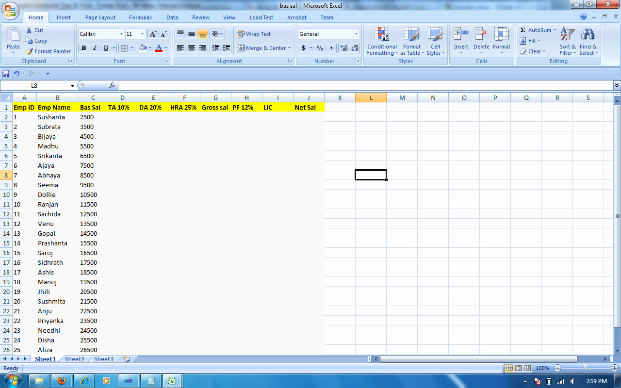 Salary formula In Excel Sheet Awesome Salary Sheet formula In Excel 2007 Ms Excel How to Use