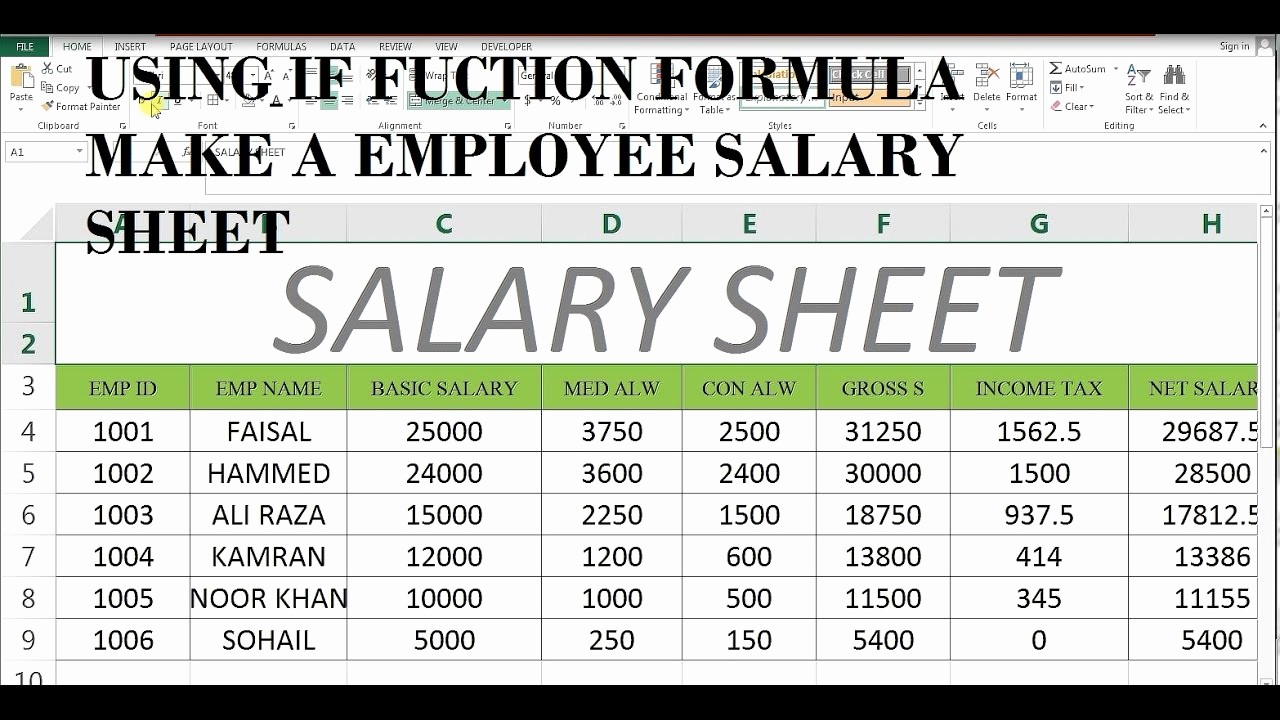 Salary formula In Excel Sheet Best Of How to Make Salary Sheet In Ms Excel 43