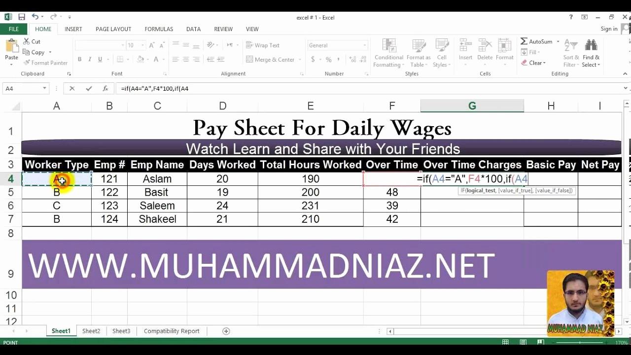 Salary formula In Excel Sheet Elegant How to Create Salary Sheet In Microsoft Excel 2013 In Urdu