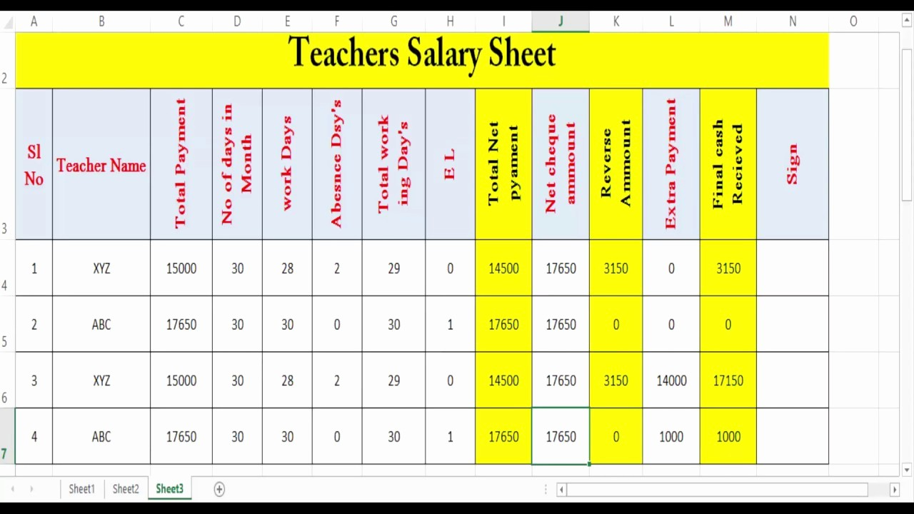 Salary formula In Excel Sheet Fresh Teacher S Salary Sheet On Excel Simple Tricks