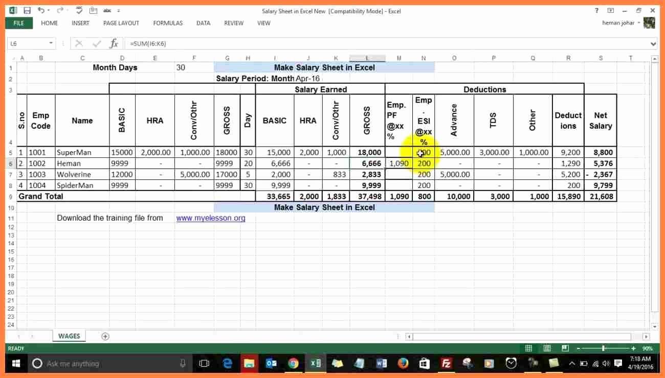 Salary formula In Excel Sheet Inspirational 6 Excel Salary Sheet Pdf