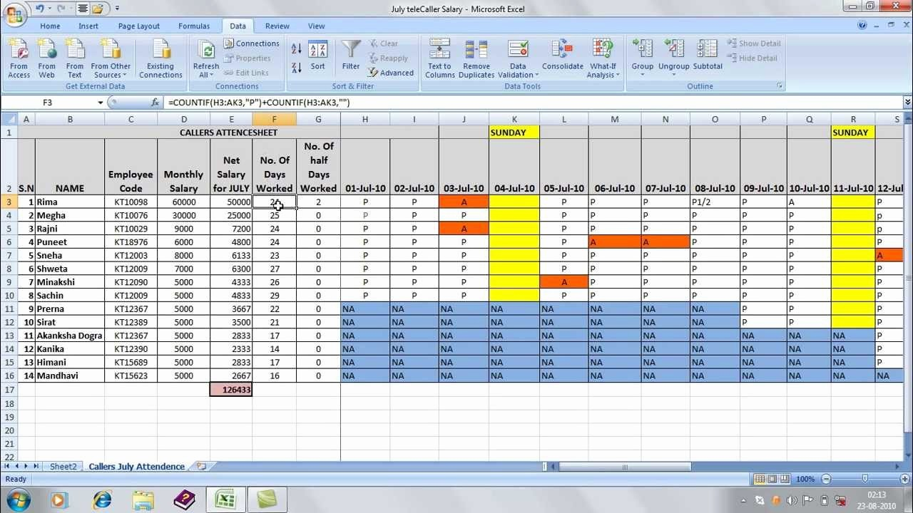 Salary formula In Excel Sheet Inspirational Ficegyan attendence Sheet In Excel Avi