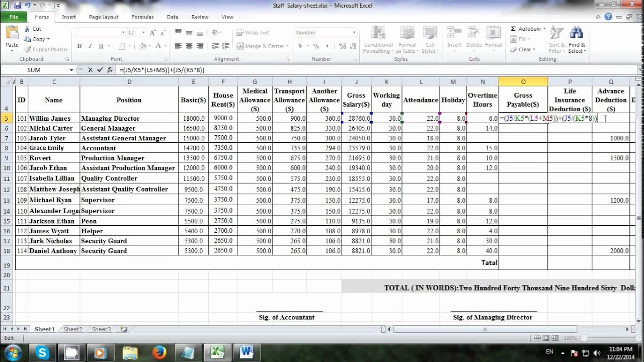 Salary formula In Excel Sheet Lovely How to Make Salary Sheet Using Microsoft Excel