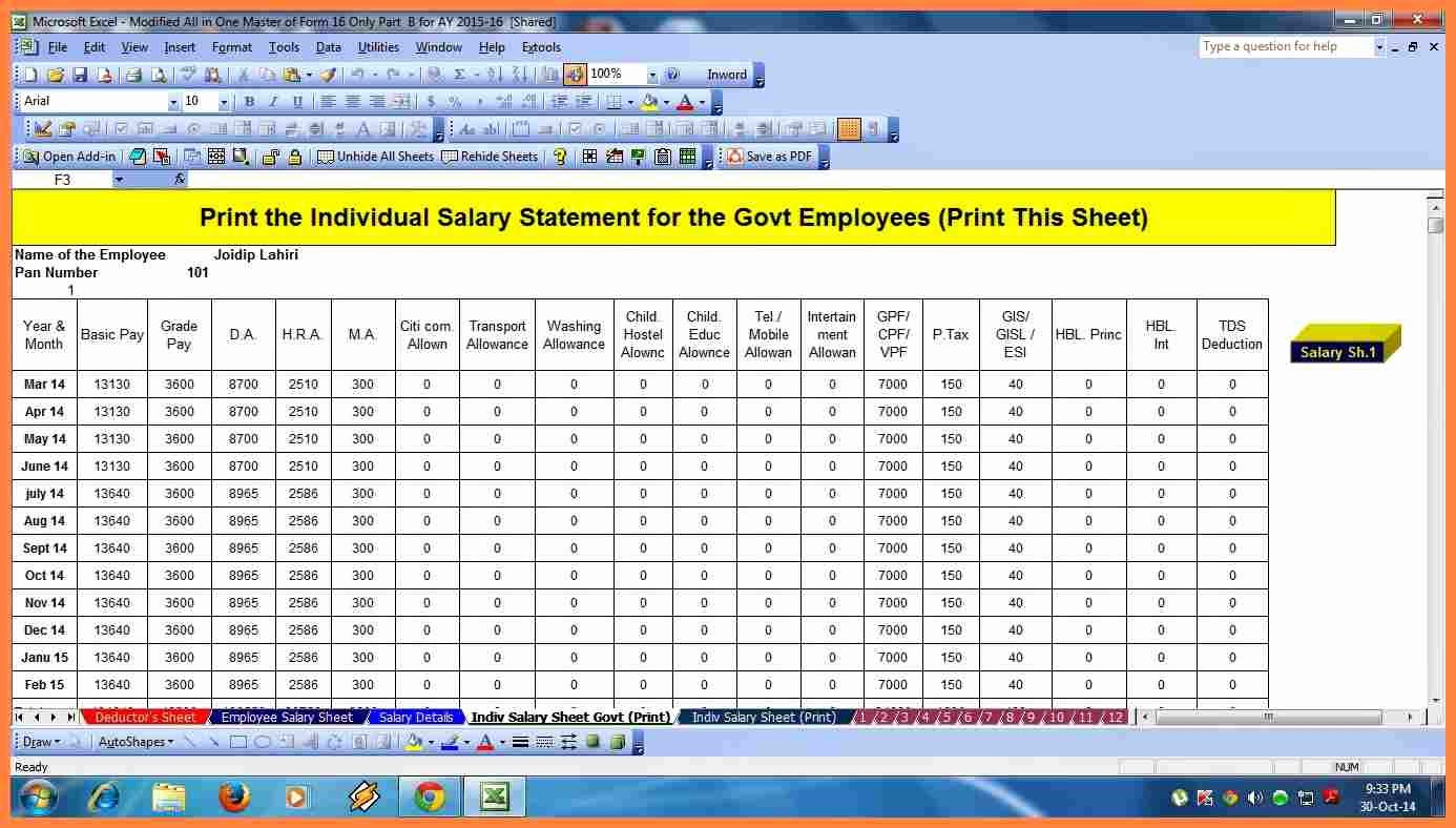 8 salary structure format in excel free