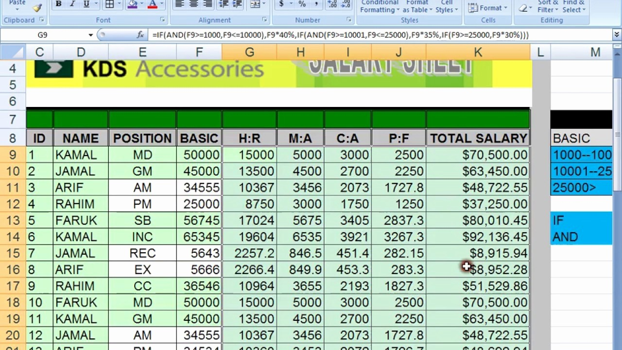 Salary formula In Excel Sheet Luxury How to Make Salary Sheet Using Microsoft Excel In Bangla