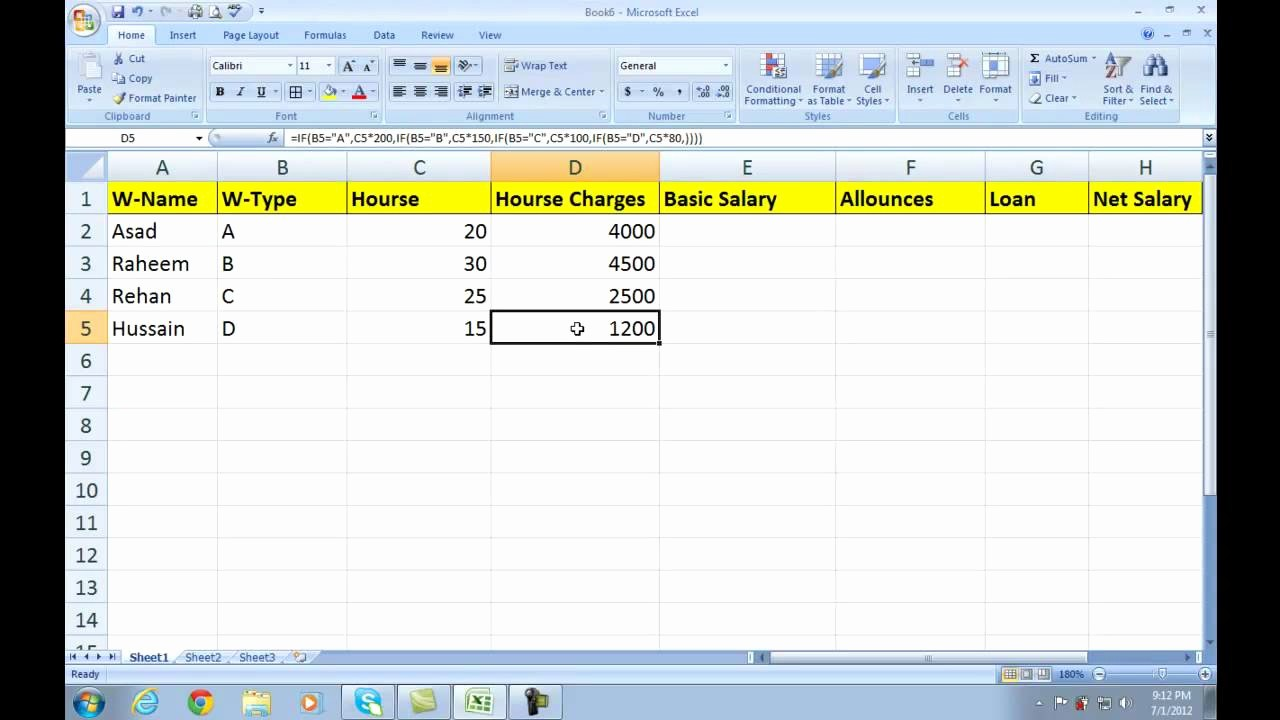 Salary formula In Excel Sheet Luxury Ms Excel 2007 Salary Sheet formulas Data Sheet Create A