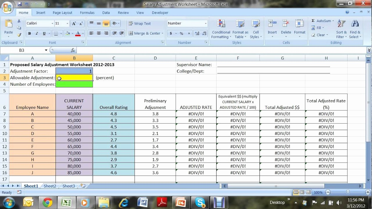 Salary formula In Excel Sheet Luxury Salary Adjustment Worksheet Video Avi by Geri Abracosa
