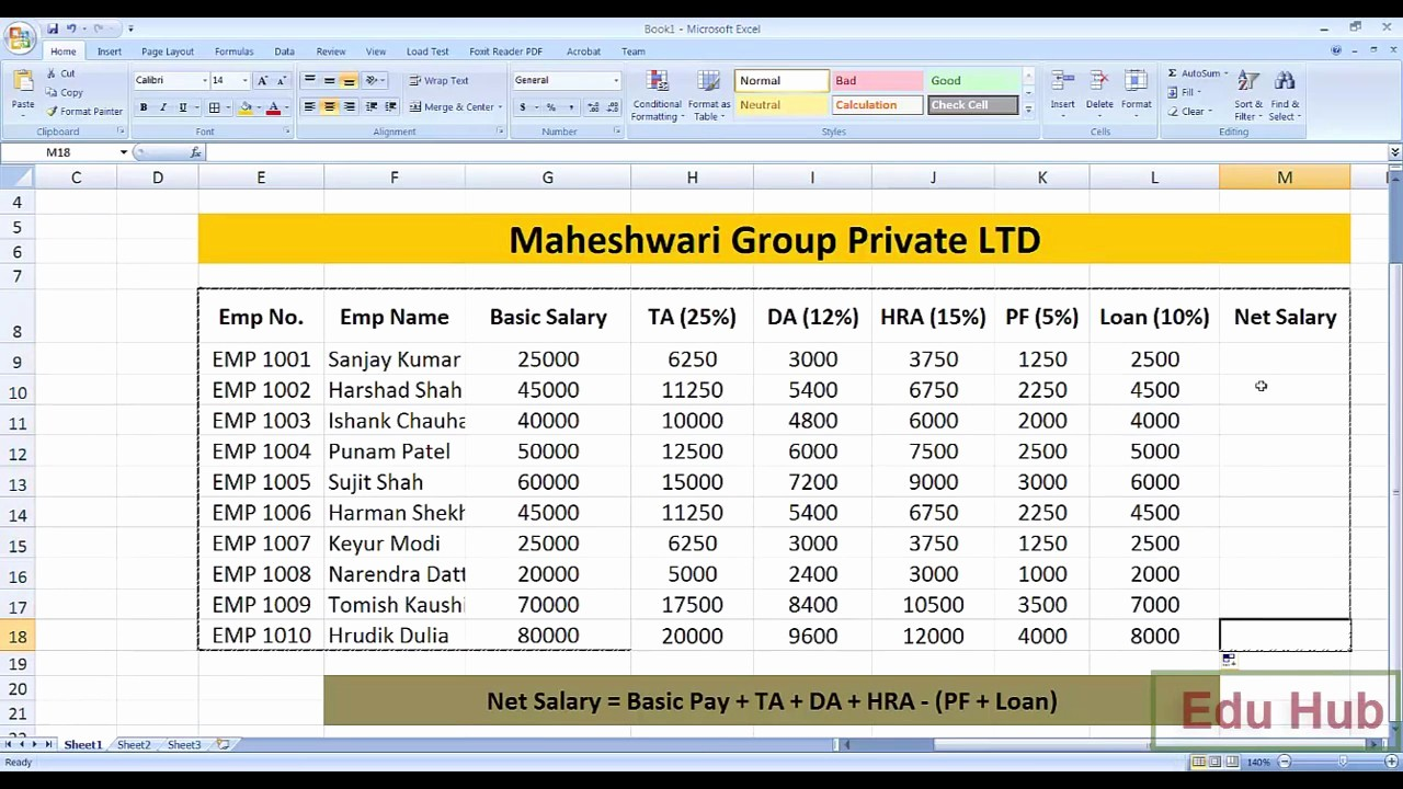 Salary formula In Excel Sheet New How to Create Salary Sheet and Payslip In Ms Excel