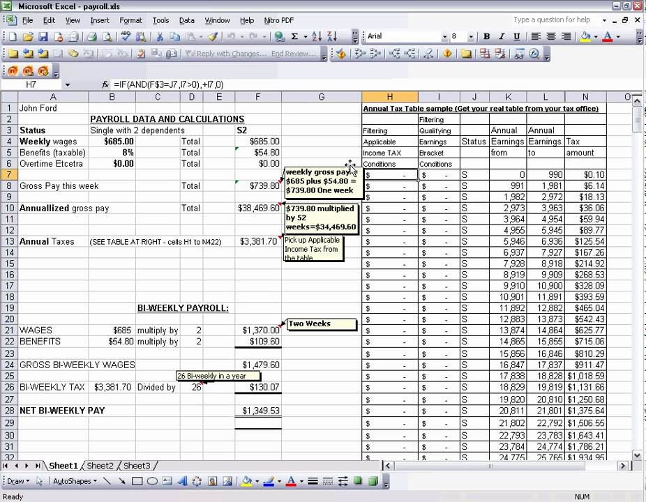 Salary formula In Excel Sheet New Payroll Excel Tax Table Tricks