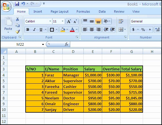 Salary formula In Excel Sheet Unique Ms Excel 2007 Salary Sheet formulas How to Create Salary