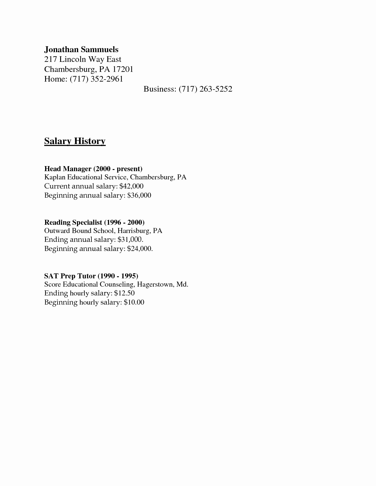 Salary History In Cover Letter Luxury Salary History Template