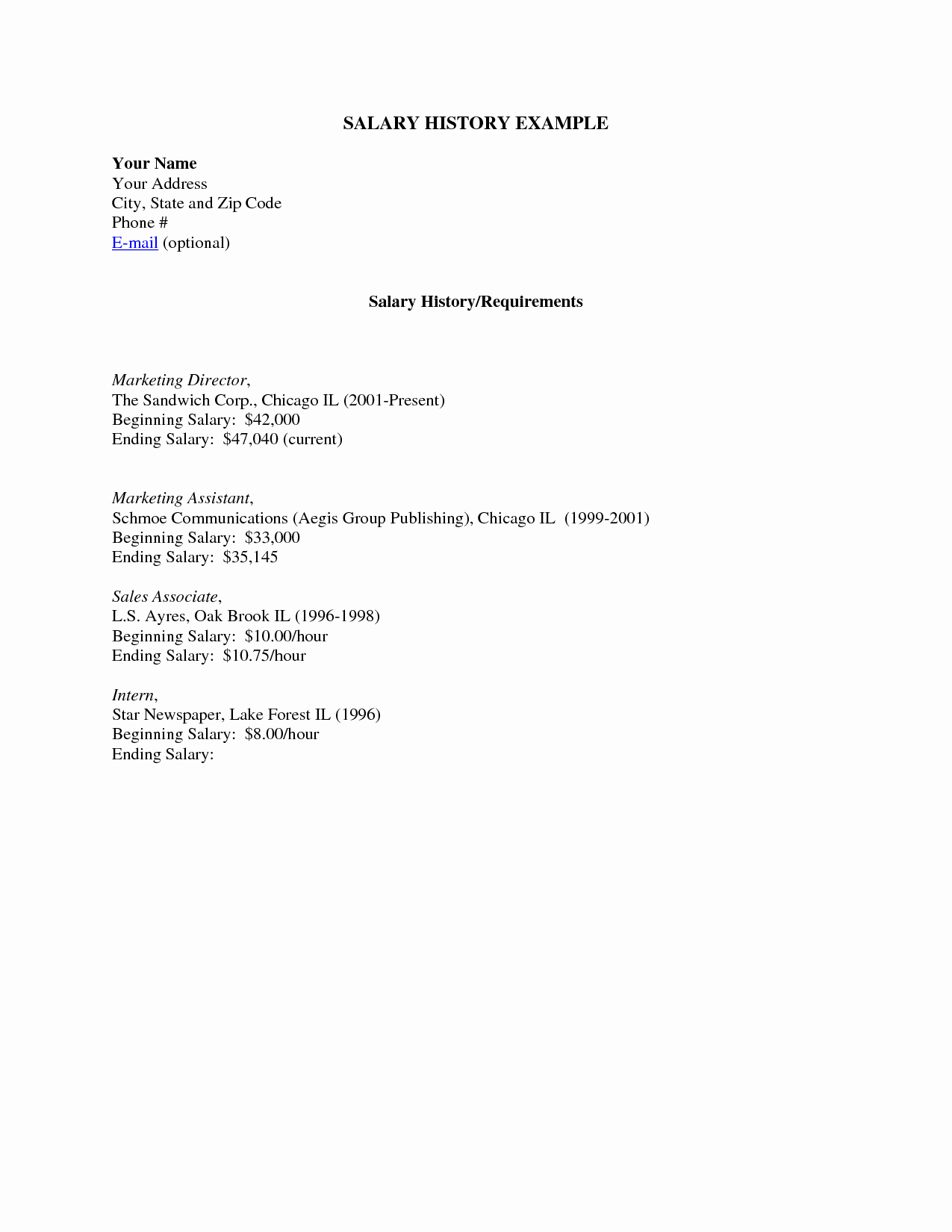 Salary History In Cover Letter New Cover Letter with Salary History and Desired