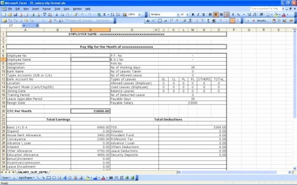 Salary Payroll Xls Excel Sheet Awesome How to Create Salary Slip In Ms Excel Techyv