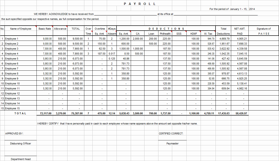 Salary Payroll Xls Excel Sheet Fresh Salary Payroll Xls Excel Sheet Samplebusinessresume