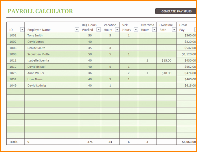 Salary Payroll Xls Excel Sheet Lovely 9 Free Excel Payroll Spreadsheet