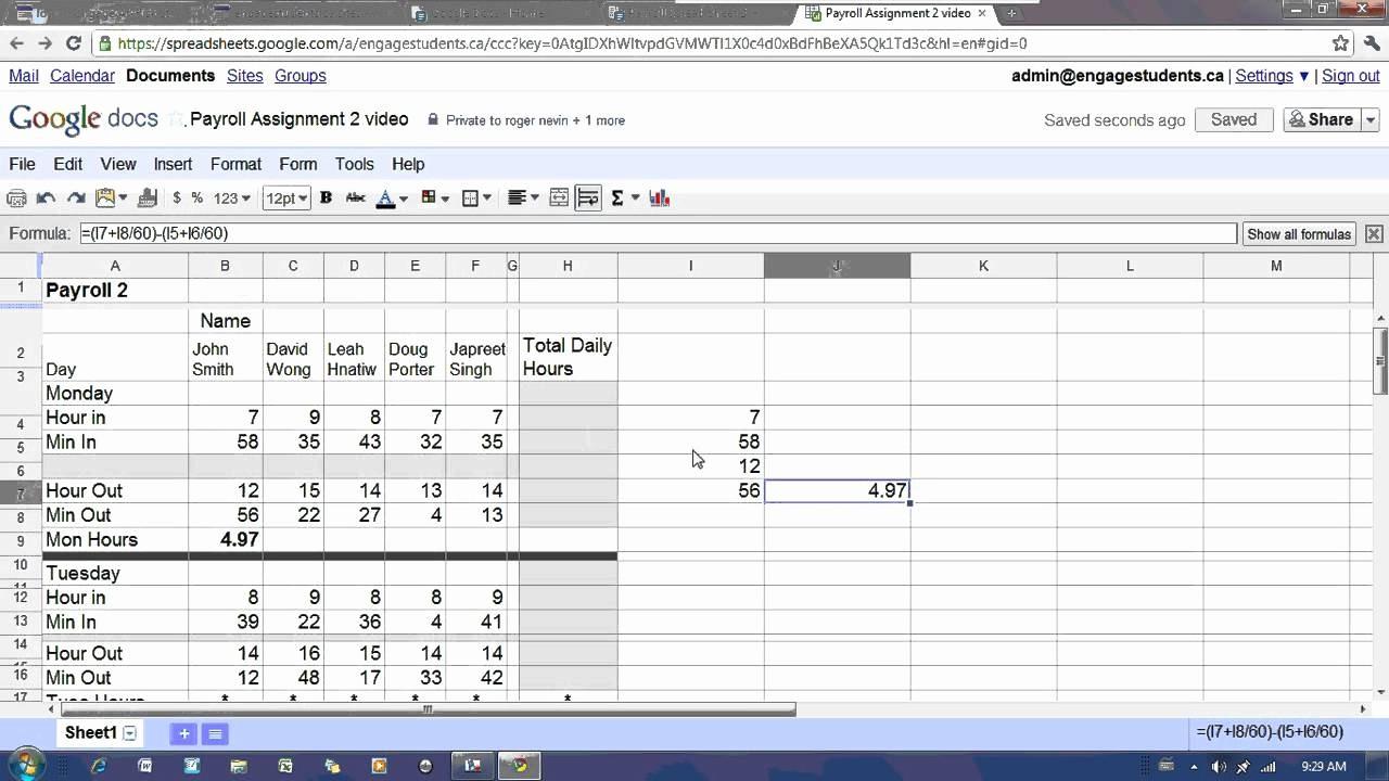 Salary Payroll Xls Excel Sheet Lovely Google Docs Spreadsheet Payroll 2 Tutorial