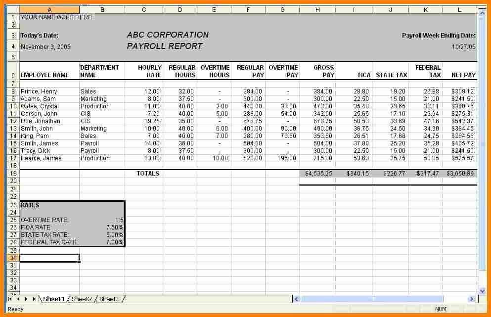 Salary Payroll Xls Excel Sheet Luxury 6 Payroll Sheet Template Sample