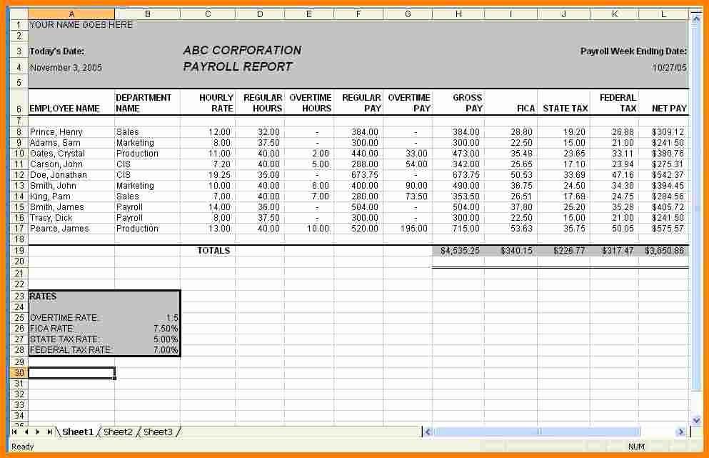 Salary Payroll Xls Excel Sheet Luxury 6 Payroll Sheet Template Sample