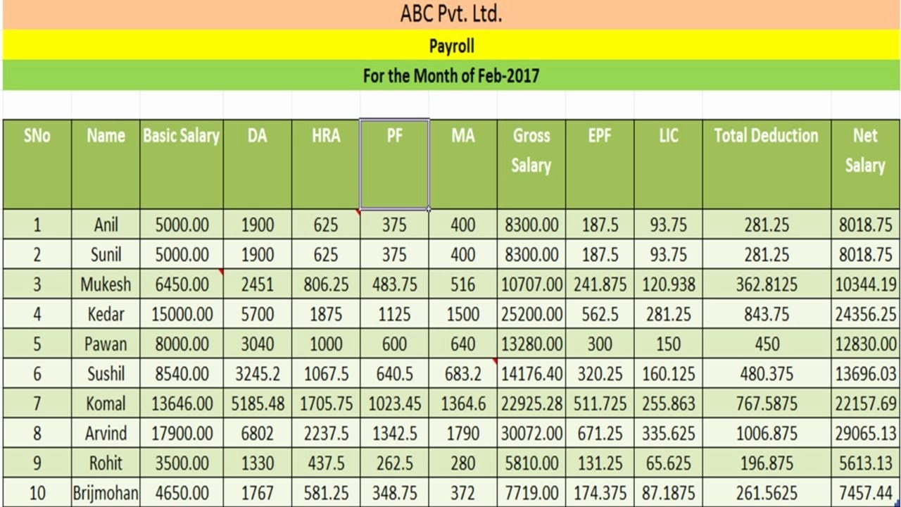 Salary Payroll Xls Excel Sheet Luxury How to Create Payroll Salary Sheet Payslip In Excel Hindi