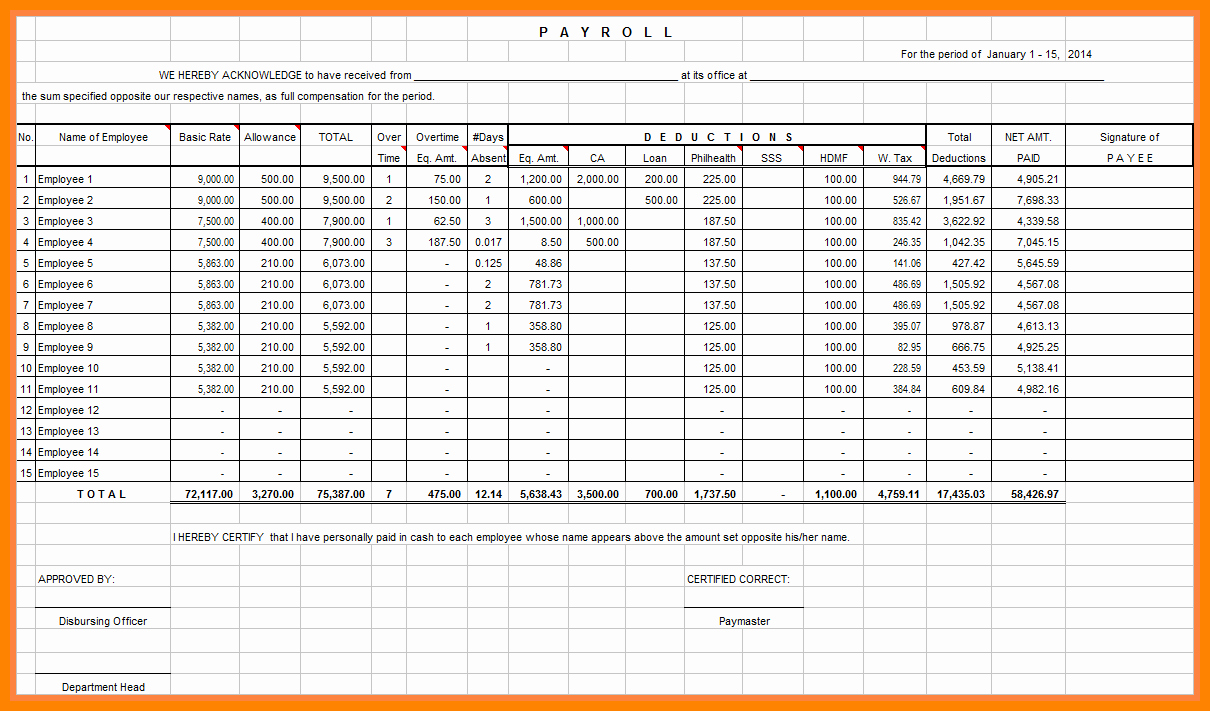 Salary Payroll Xls Excel Sheet New 7 Payroll Excel Spreadsheet