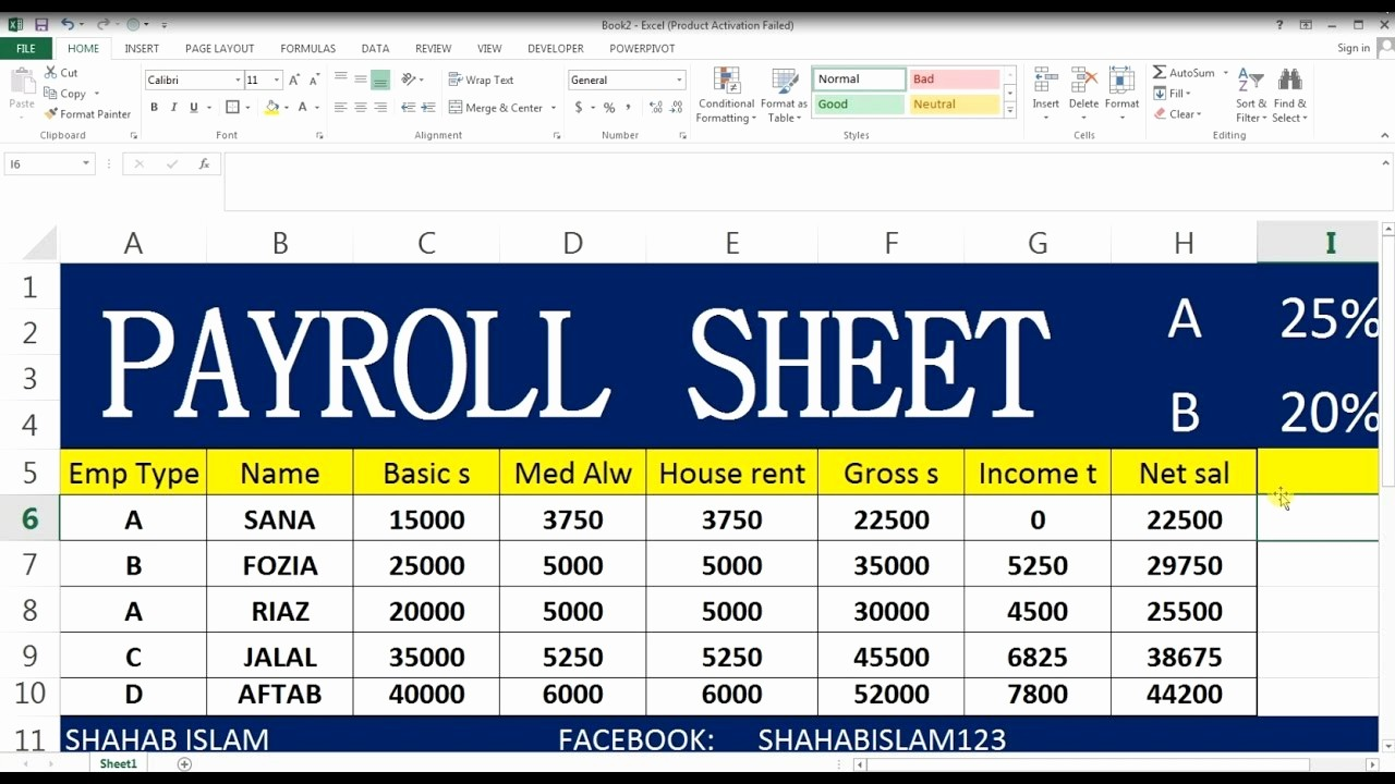 Salary Payroll Xls Excel Sheet New How to Make Payroll Ms Excel In Hindi