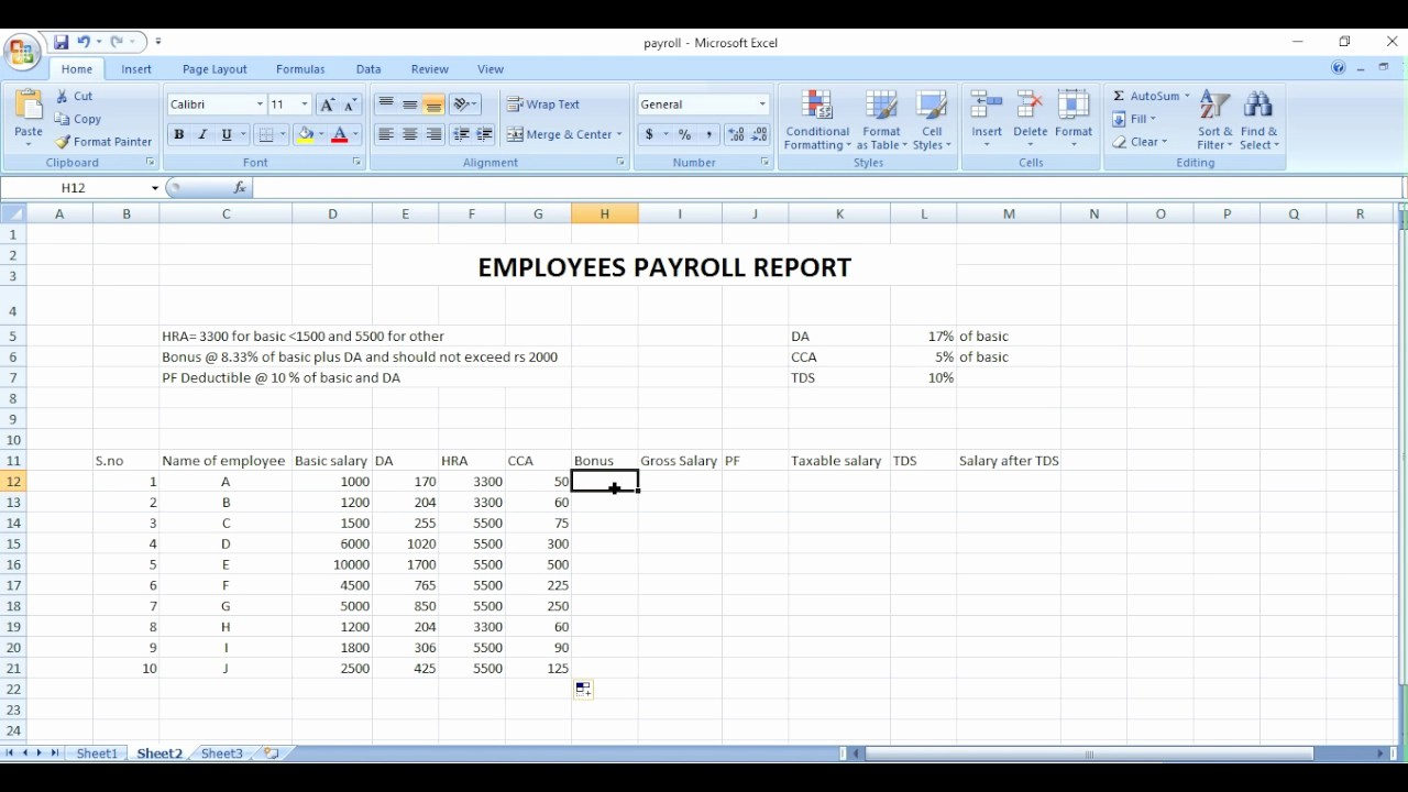 Salary Payroll Xls Excel Sheet New Payroll Sheet Excel In Hindi