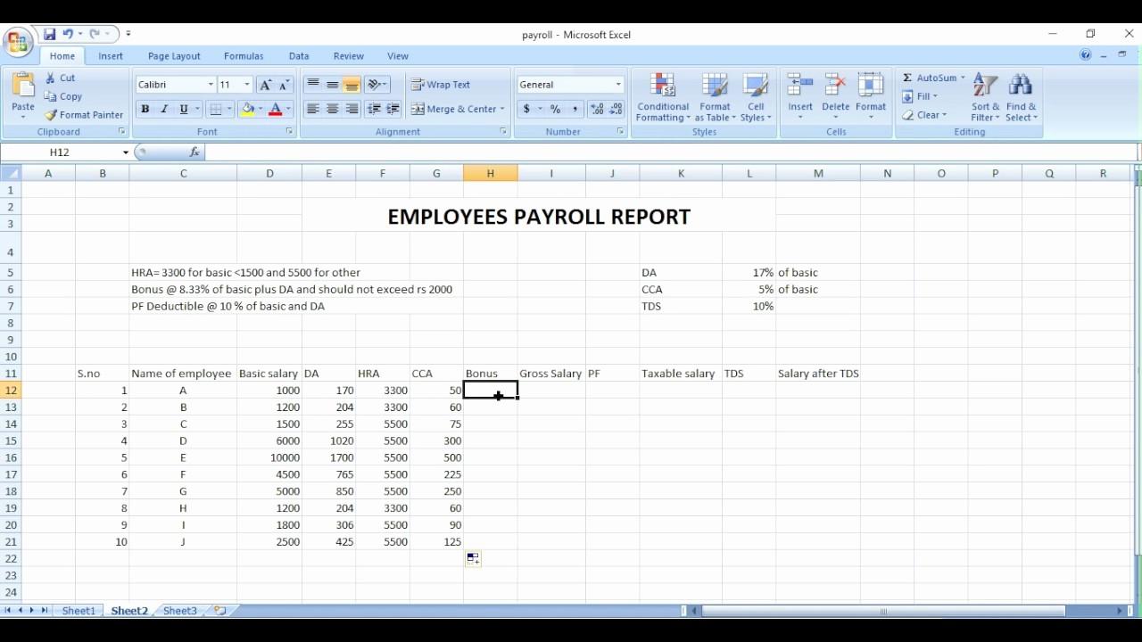 Salary Payroll Xls Excel Sheet New Payroll Sheet Excel In Hindi