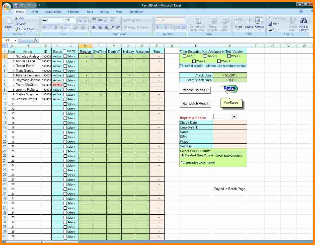 Salary Payroll Xls Excel Sheet Unique 5 Free Payroll Excel Template