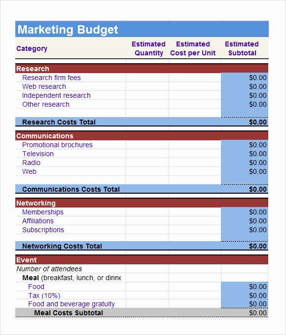 Sales and Marketing Budget Template Awesome 6 Sample Marketing Bud Templates to Download