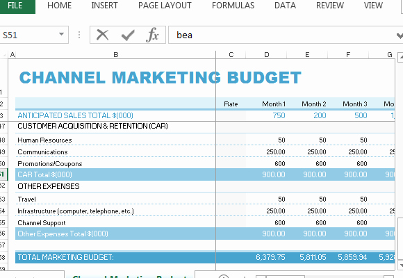 Sales and Marketing Budget Template Awesome Channel Marketing Bud Template for Excel