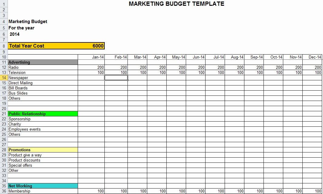 Sales and Marketing Budget Template New Marketing Bud Template In Excel