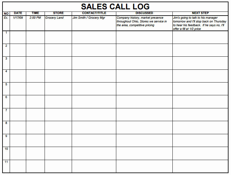 Sales Call Sheet Template Free Beautiful 5 Sales Log Templates formats Examples In Word Excel