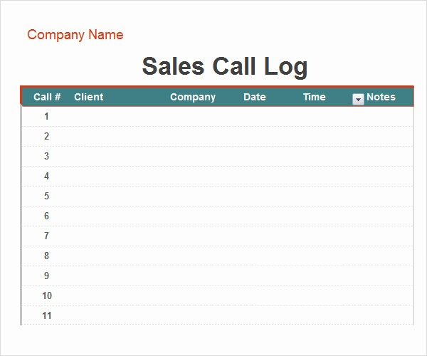 Sales Call Sheet Template Free Beautiful Call Log Template 11 Download Free Documents In Pdf Word