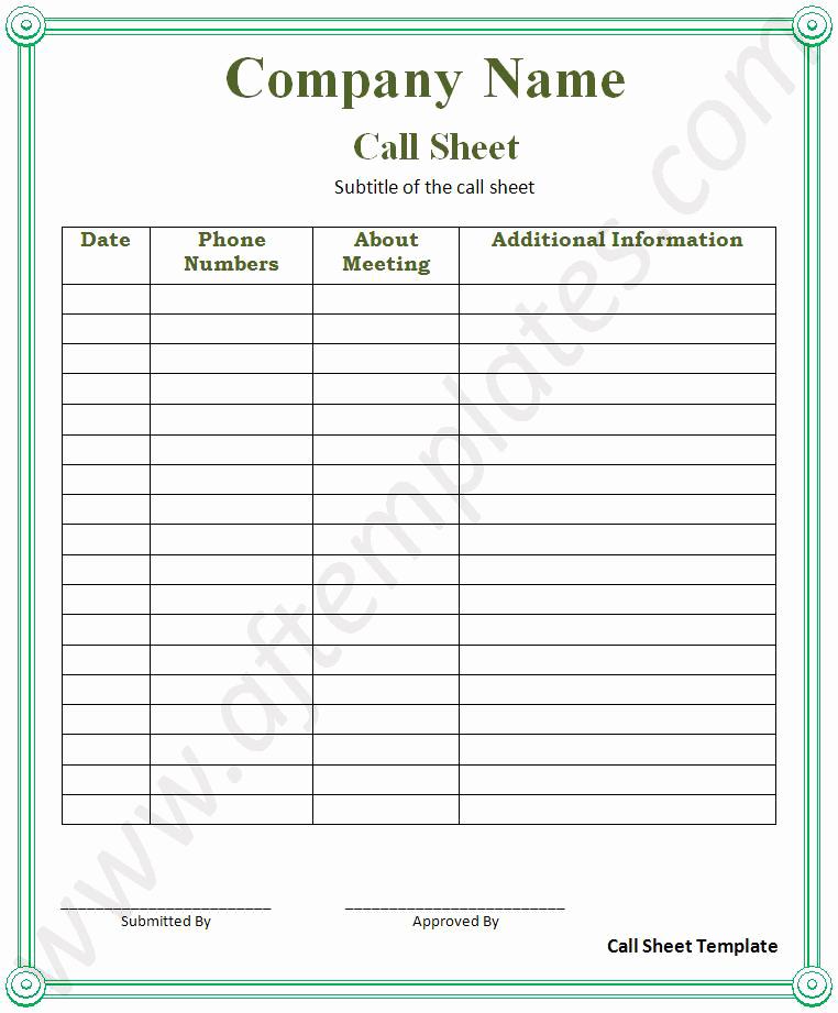 Sales Call Sheet Template Free Beautiful Call Sheet Template
