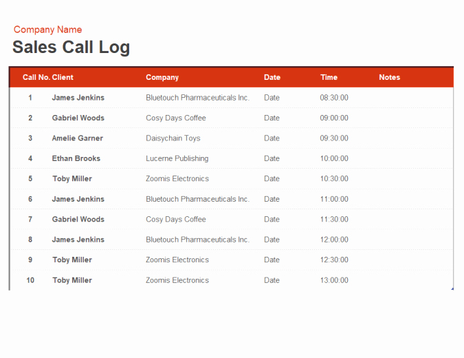 Sales Call Sheet Template Free Best Of Sales Call Log and organiser