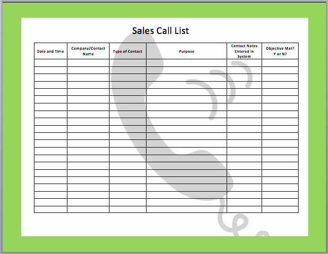 Sales Call Sheet Template Free Best Of Sales Call Templates Free Search Results