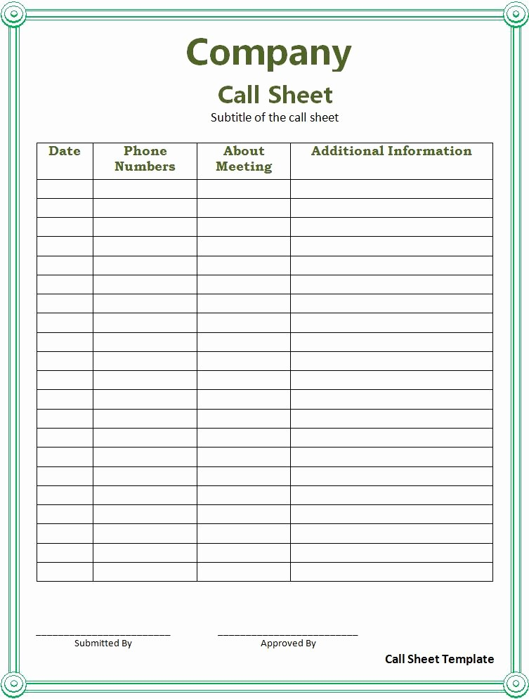 Sales Call Sheet Template Free Elegant Call Sheet Template