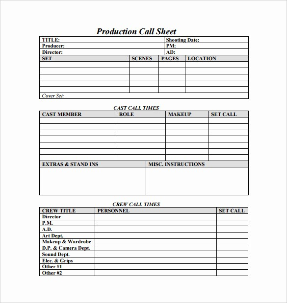 Sales Call Sheet Template Free Fresh Call Sheet Template 23 Free Word Pdf Documents