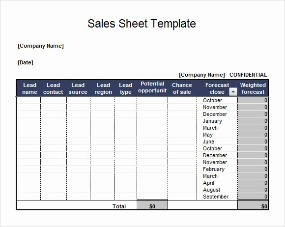 Sales Call Sheet Template Free Lovely 7 Sales Sheet Samples