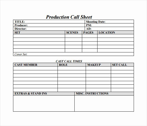 Sales Call Sheet Template Free Unique 12 Sample Call Sheet Template to Download