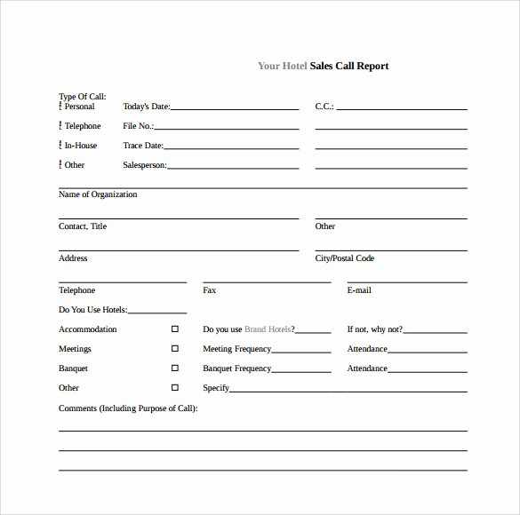 Sales Call Sheet Template Free Unique 14 Sales Call Report Samples