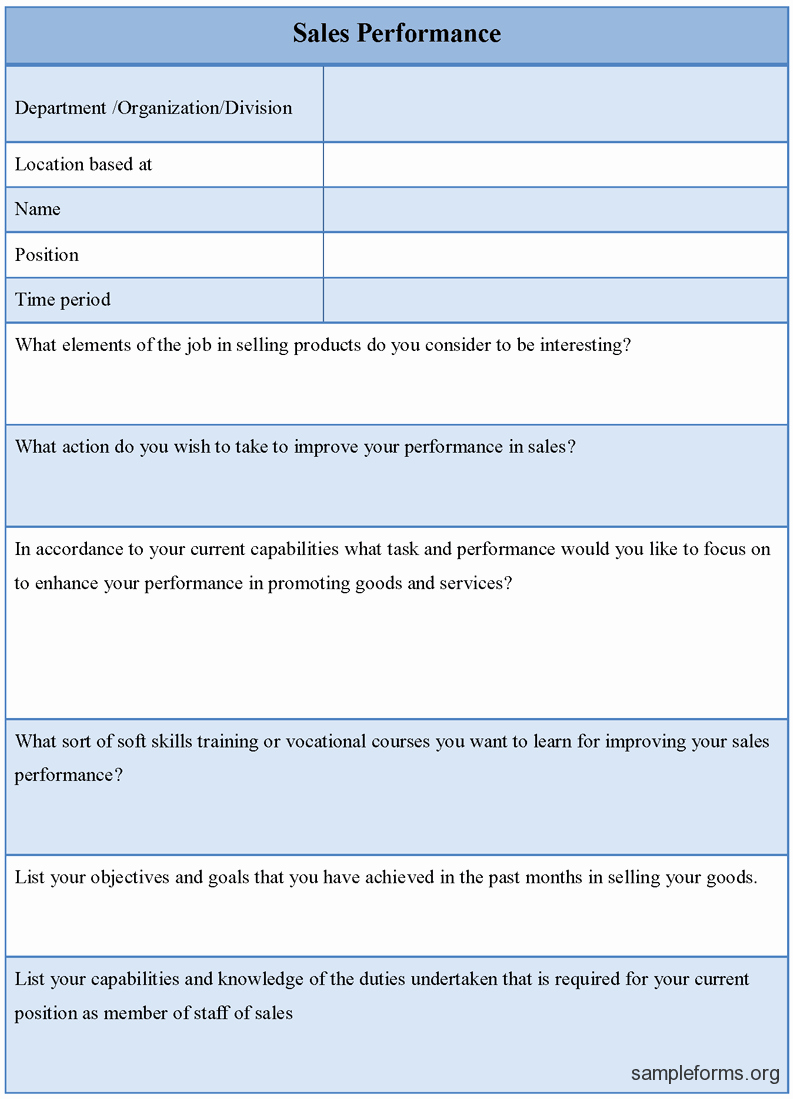 Sales Lead form Template Word Unique Sales Performance Evaluation Examples