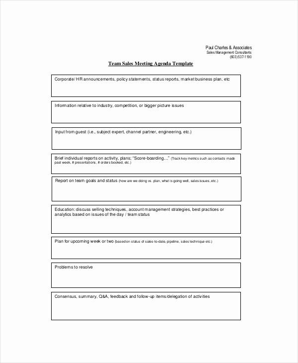 Sales Meeting Agenda Template Word Elegant Sales Meeting Agenda Template – 11 Free Word Pdf