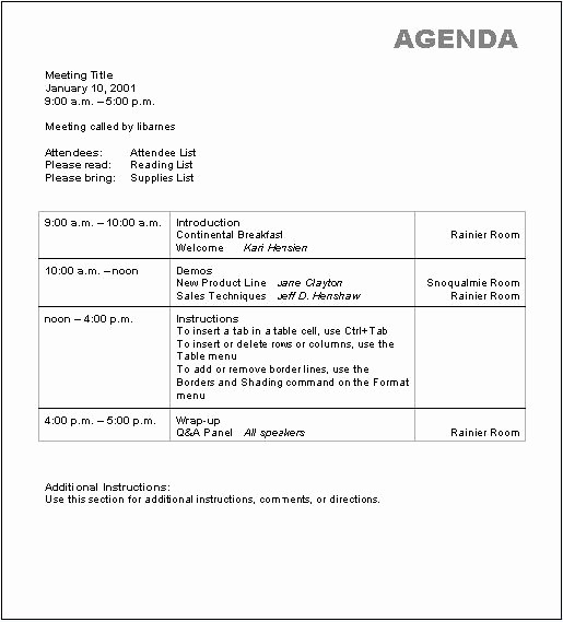 Sales Meeting Agenda Template Word Lovely 10 Best Of Basic Agenda Template Basic Meeting