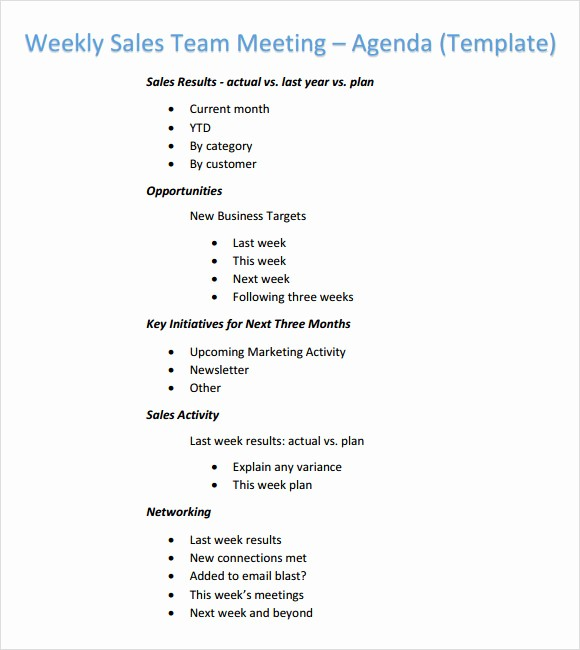 Sales Meeting Agenda Template Word Lovely Weekly Agenda Template 6 Free Download for Pdf Word