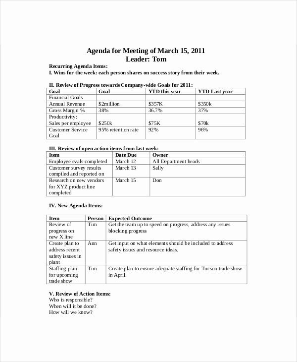 Sales Meeting Agenda Template Word Unique Sales Meeting Agenda Template – 11 Free Word Pdf