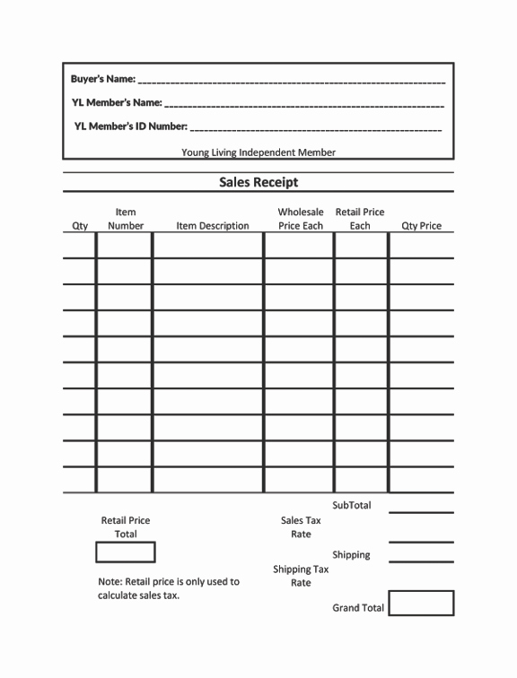 Sales order form Template Free Awesome Young Living Sales Receipt Offered as An Excel Spreadsheet