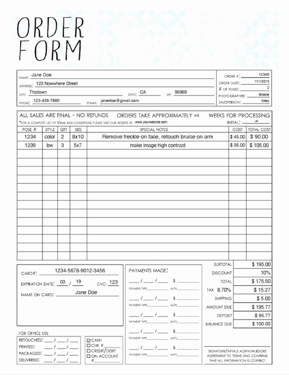 Sales order form Template Free Beautiful Pdf General Graphy Sales order form Template